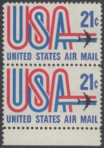 USA Michel 1036 / Scott C081 postfrisch Luftpost-vert.PAAR RAND unten - Schriftbild USA, Düsenverkehrsflugzeug
