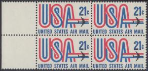 USA Michel 1036 / Scott C081 postfrisch Luftpost-BLOCK RÄNDER links - Schriftbild USA, Düsenverkehrsflugzeug