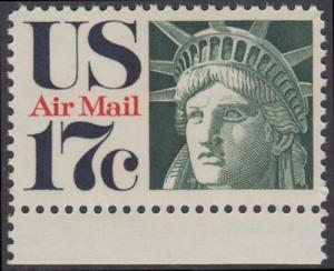 USA Michel 1044 / Scott C080 postfrisch Luftpost-EINZELMARKE RAND unten - Kopf der Freiheitsstatue
