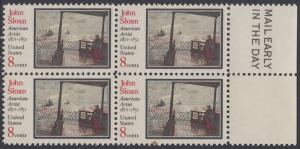 USA Michel 1045 / Scott 1433 postfrisch BLOCK RÄNDER rechts m/ Mail Early-Emblem - John Sloan, Maler