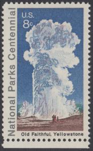 USA Michel 1060 / Scott 1453 postfrisch EINZELMARKE RAND unten - 100 Jahre Nationalparks: Yellowstone-Nationalpark; Old-Faithful-Geysir