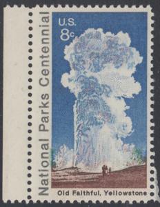 USA Michel 1060 / Scott 1453 postfrisch EINZELMARKE RAND links - 100 Jahre Nationalparks: Yellowstone-Nationalpark; Old-Faithful-Geysir