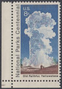 USA Michel 1060 / Scott 1453 postfrisch EINZELMARKE ECKRAND unten links - 100 Jahre Nationalparks: Yellowstone-Nationalpark; Old-Faithful-Geysir