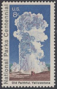 USA Michel 1060 / Scott 1453 postfrisch EINZELMARKE - 100 Jahre Nationalparks: Yellowstone-Nationalpark; Old-Faithful-Geysir