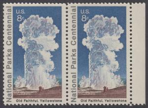 USA Michel 1060 / Scott 1453 postfrisch horiz.PAAR RAND rechts - 100 Jahre Nationalparks: Yellowstone-Nationalpark; Old-Faithful-Geysir