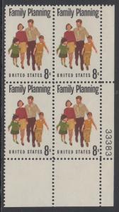 USA Michel 1061 / Scott 1455 postfrisch PLATEBLOCK ECKRAND unten rechts m/ Platten-# 33383 - Familienplanung