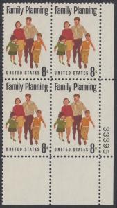 USA Michel 1061 / Scott 1455 postfrisch PLATEBLOCK ECKRAND unten rechts m/ Platten-# 33395 (a) - Familienplanung