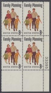 USA Michel 1061 / Scott 1455 postfrisch PLATEBLOCK ECKRAND unten rechts m/ Platten-# 33395 (b) - Familienplanung