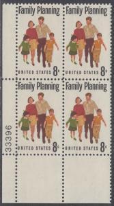 USA Michel 1061 / Scott 1455 postfrisch PLATEBLOCK ECKRAND unten links m/ Platten-# 33396 - Familienplanung