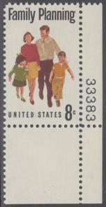 USA Michel 1061 / Scott 1455 postfrisch EINZELMARKE ECKRAND unten rechts m/ Platten-# 33383 - Familienplanung