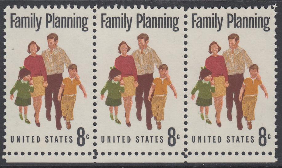 USA Michel 1061 / Scott 1455 postfrisch horiz.STRIP(3) RÄNDER unten - Familienplanung  0