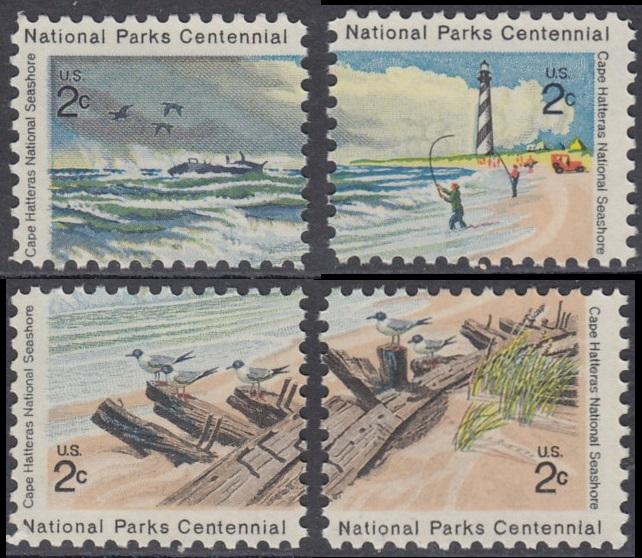 USA Michel 1062-1065 / Scott 1448-1451 postfrisch SATZ(4) EINZELMARKEN - 100 Jahre Nationalparks: Cape-Hatteras-Seeküste 0
