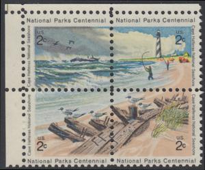 USA Michel 1062-1065 / Scott 1448-1451 postfrisch BLOCK ECKRAND oben links - 100 Jahre Nationalparks: Cape-Hatteras-Seeküste
