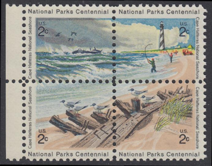 USA Michel 1062-1065 / Scott 1448-1451 postfrisch BLOCK RÄNDER links - 100 Jahre Nationalparks: Cape-Hatteras-Seeküste 0