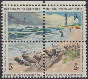 USA Michel 1062-1065 / Scott 1448-1451 postfrisch BLOCK RÄNDER oben - 100 Jahre Nationalparks: Cape-Hatteras-Seeküste