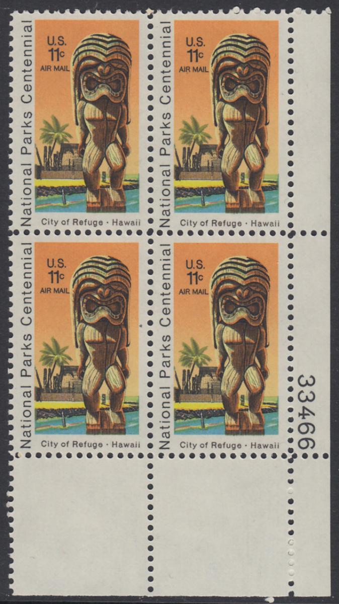 USA Michel 1067 / Scott C084 postfrisch Luftpost-PLATEBLOCK ECKRAND unten rechts m/ Platten-# 33459 - 100 Jahre Nationalparks: City of Refuge, HI; Holzstatue eines Ki'i Gottes, Hawaii 0