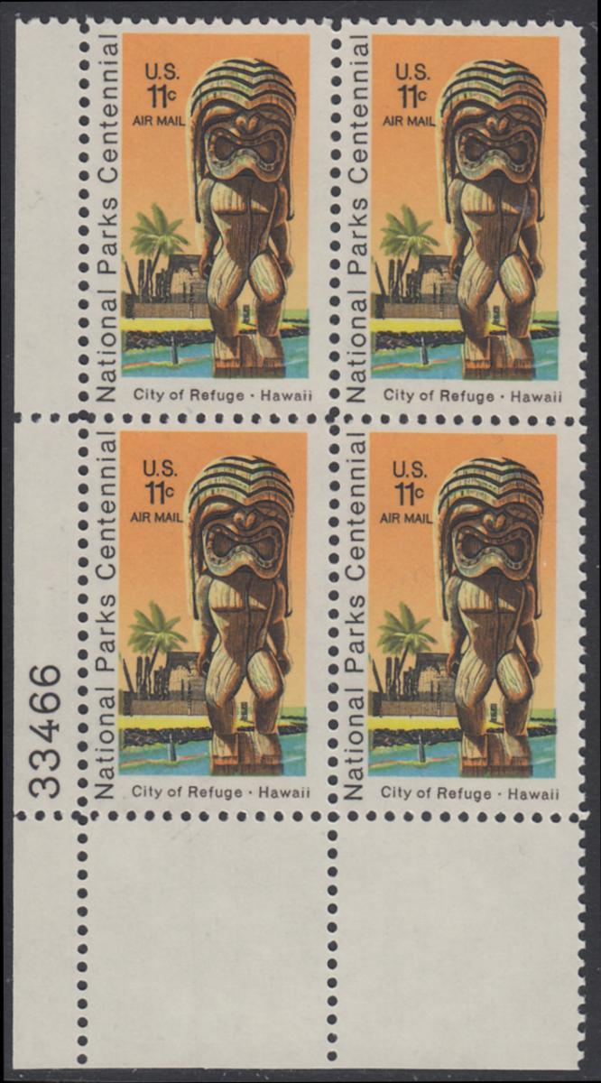 USA Michel 1067 / Scott C084 postfrisch Luftpost-PLATEBLOCK ECKRAND unten links m/ Platten-# 33466 - 100 Jahre Nationalparks: City of Refuge, HI; Holzstatue eines Ki'i Gottes, Hawaii 0