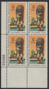 USA Michel 1067 / Scott C084 postfrisch Luftpost-PLATEBLOCK ECKRAND unten links m/ Platten-# 33466 - 100 Jahre Nationalparks: City of Refuge, HI; Holzstatue eines Ki'i Gottes, Hawaii