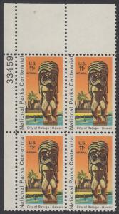USA Michel 1067 / Scott C084 postfrisch Luftpost-PLATEBLOCK ECKRAND oben links m/ Platten-# 33459 - 100 Jahre Nationalparks: City of Refuge, HI; Holzstatue eines Ki'i Gottes, Hawaii