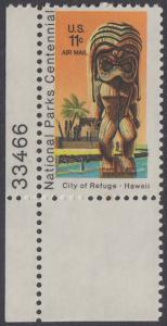 USA Michel 1067 / Scott C084 postfrisch Luftpost-EINZELMARKE ECKRAND unten links m/ Platten-# 33466 - 100 Jahre Nationalparks: City of Refuge, HI; Holzstatue eines Ki'i Gottes, Hawaii