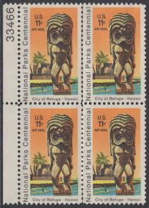 USA Michel 1067 / Scott C084 postfrisch Luftpost-BLOCK RÄNDER links m/ Platten-# 33466 - 100 Jahre Nationalparks: City of Refuge, HI; Holzstatue eines Ki'i Gottes, Hawaii