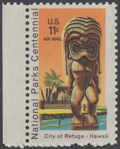 USA Michel 1067 / Scott C084 postfrisch Luftpost-EINZELMARKE RAND links - 100 Jahre Nationalparks: City of Refuge, HI; Holzstatue eines Ki'i Gottes, Hawaii 0