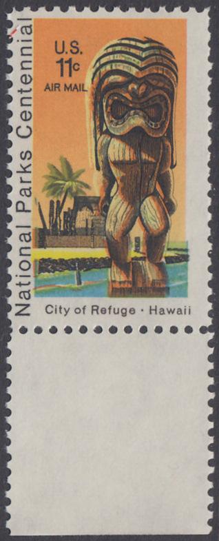 USA Michel 1067 / Scott C084 postfrisch Luftpost-EINZELMARKE RAND unten - 100 Jahre Nationalparks: City of Refuge, HI; Holzstatue eines Ki'i Gottes, Hawaii 0