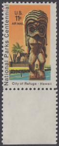 USA Michel 1067 / Scott C084 postfrisch Luftpost-EINZELMARKE RAND unten - 100 Jahre Nationalparks: City of Refuge, HI; Holzstatue eines Ki'i Gottes, Hawaii