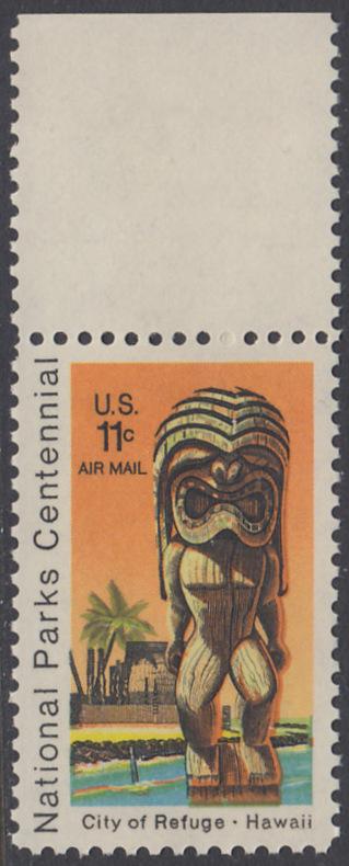 USA Michel 1067 / Scott C084 postfrisch Luftpost-EINZELMARKE RAND oben - 100 Jahre Nationalparks: City of Refuge, HI; Holzstatue eines Ki'i Gottes, Hawaii 0