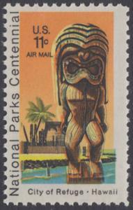 USA Michel 1067 / Scott C084 postfrisch Luftpost-EINZELMARKE - 100 Jahre Nationalparks: City of Refuge, HI; Holzstatue eines Ki'i Gottes, Hawaii