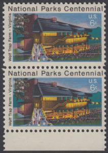 USA Michel 1068 / Scott 1452 postfrisch vert.PAAR RAND unten - 100 Jahre Nationalparks: Wolf Trap Farm, VA; Theater im Wolf-Trap-Farm-Nationalpark, Virginia