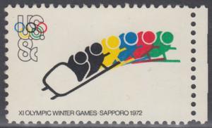 USA Michel 1075 / Scott 1461 postfrisch EINZELMARKE RAND rechts - Olympische Spiele 1972, Sapporo und München; Bobsport