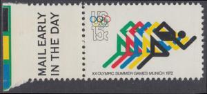 USA Michel 1076 / Scott 1462 postfrisch EINZELMARKE RAND links m/ Mail Early-Vermerk - Olympische Spiele 1972, Sapporo und München; Laufen