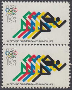 USA Michel 1076 / Scott 1462 postfrisch vert.PAAR - Olympische Spiele 1972, Sapporo und München; Laufen