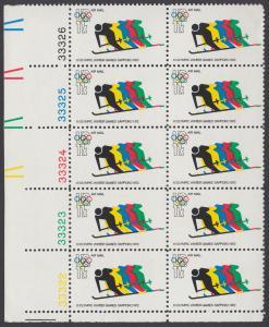 USA Michel 1077 / Scott C085 postfrisch vert.PLATEBLOCK(10) ECKRAND unten links m/ Platten-Nr. 33322- Olympische Spiele 1972, Sapporo und München, Abfahrtslauf