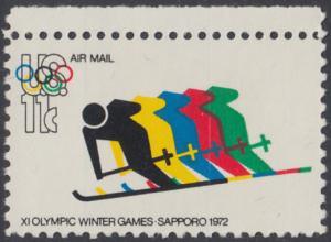 USA Michel 1077 / Scott C085 postfrisch EINZELMARKE RAND oben - Olympische Spiele 1972, Sapporo und München, Abfahrtslauf
