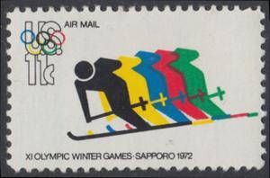 USA Michel 1077 / Scott C085 postfrisch EINZELMARKE - Olympische Spiele 1972, Sapporo und München; Abfahrtslauf