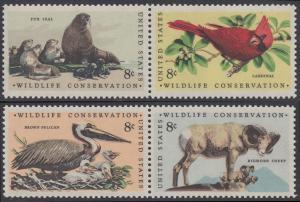 USA Michel 1079-1082 / Scott 1464-1467 postfrisch SATZ(4) EINZELMARKEN - Naturschutz