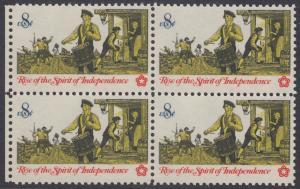 USA Michel 1121 / Scott 1479 postfrisch BLOCK RÄNDER links - 200 Jahre Unabhängigkeit der Vereinigten Staaten von Amerika (1976): Nachrichtenwesen zur Kolonialzeit; Trommler