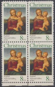 USA Michel 1123 / Scott 1507 postfrisch BLOCK RÄNDER unten - Weihnachten; Kleine Cowper-Madonna