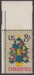 USA Michel 1124 / Scott 1508 postfrisch EINZELMARKE ECKRAND oben links m/ Platten-# 34333 - Weihnachten; Weihnachtsbaum, Handstickerei