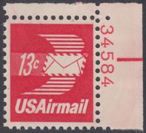 USA Michel 1125A / Scott C079 postfrisch Luftpost-EINZELMARKE ECKRAND oben rechts m/ Platten-# 34584 - Luftpostbrief