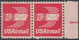 USA Michel 1125A / Scott C079 postfrisch Luftpost-horiz.PAAR RAND rechts - Luftpostbrief