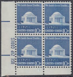 USA Michel 1127 / Scott 1510 postfrisch ZIP-.BLOCK (ll)  - Jefferson-Denkmal, Washington, DC