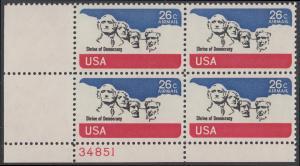 USA Michel 1128 / Scott C088 postfrisch Luftpost-PLATEBLOCK ECKRAND unten links m/ Platten-# 34851 - Mt. Rushmore National Memorial, bei Rapid City, SD