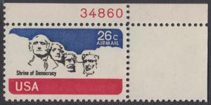 USA Michel 1128 / Scott C088 postfrisch Luftpost-EINZELMARKE ECKRAND oben rechts m/ Platten-# 34860 - Mt. Rushmore National Memorial, bei Rapid City, SD