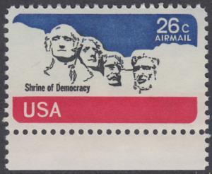 USA Michel 1128 / Scott C088 postfrisch Luftpost-EINZELMARKE RAND unten - Mt. Rushmore National Memorial, bei Rapid City, SD