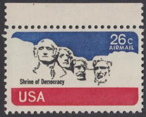 USA Michel 1128 / Scott C088 postfrisch Luftpost-EINZELMARKE RAND oben - Mt. Rushmore National Memorial, bei Rapid City, SD
