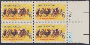 """USA Michel 1135 / Scott 1528 postfrisch BLOCK RÄNDER rechts m/ Platten-# 35116 - Pferderennen """"Kentucky Derby""""; Derby-Reiter"""