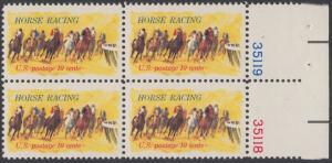 """USA Michel 1135 / Scott 1528 postfrisch BLOCK RÄNDER rechts m/ Platten-# 35118 - Pferderennen """"Kentucky Derby""""; Derby-Reiter"""